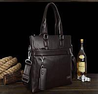 Качественная мужская сумка с ручками из PU кожи. Черный