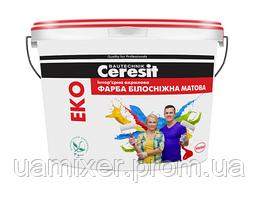 Ceresit EKO Интерьерная акриловая краска БЕЛОСНЕЖНАЯ МАТОВАЯ, 5 л