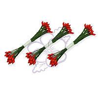Тычинки двусторонние матовые - Каплевидные красные на зеленой нити, длина 60 мм, диаметр 2 мм, 23-25 шт