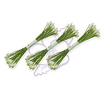 Тычинки двусторонние матовые - Каплевидные белые на зеленой нити, длина 65 мм, диаметр 2 мм, 23-25 шт
