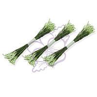 Тычинки двусторонние матовые - Удлиненные белые на зеленой нити, длина 75 мм, диаметр 2 мм, 23-25 шт