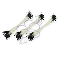 Тычинки двусторонние матовые - Удлиненные черные на белой нити, длина 75 мм, диаметр 2 мм, 23-25 шт