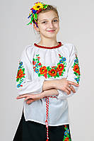Детская вышиванка для девочки белая рукав 3/4 хлопок  (Украина)