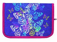 """Пенал 2017 без наполнения 1 отделение и 2 отворота JO-17053 """"Butterfly"""" (фиолет) внутри цветной фон+расписание"""