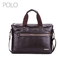 Стильная мужская сумка Polo из PU кожи. Коричневая