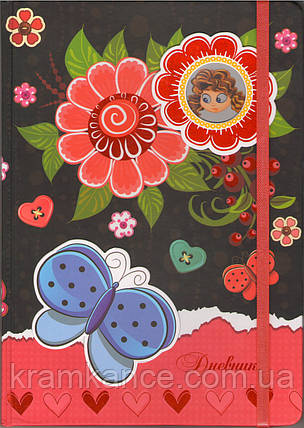 Дневник МАНДАРИН твердый на резинке с глитером, фото 2