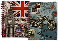 """Блокнот на спирали (A6) 64-A6 """"Лондон"""" боковая спираль + ручка (60 листов, твердый переплет)"""