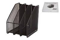 Лоток для бумаги металлический, вертикальный, сетка, 3 секции, черный