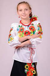 Вышиванка для девочки детская белая с яркой вышивкой рукав 3/4 хлопок  (Украина)