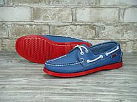 Мокасины топсайдеры Sebago Docksides кожаные blue/red (Реплика ААА+), фото 1