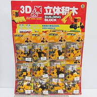 """Конструктор пластиковый K1354 3D """"Техника"""" (набор на листе 12 шт.) 66 деталей"""