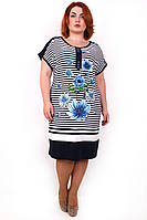 Летнее платье большой размер Морячка голубые цветы (58-64)