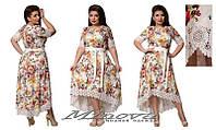 Платье женское нарядное с длинной спинкой стрейчевый поли-коттон украшено кружевом размеры 50,52,54