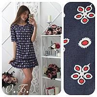 Женское модное джинсовое платье с рюшами (4 цвета)