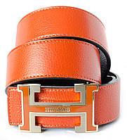 Брендовый женский ремень из 100% натуральной кожи в оранжевом цвете с пряжкой в стиле Hermes
