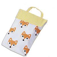Кармашек для памперсов и влажных салфеток в детскую сумку(лисички)