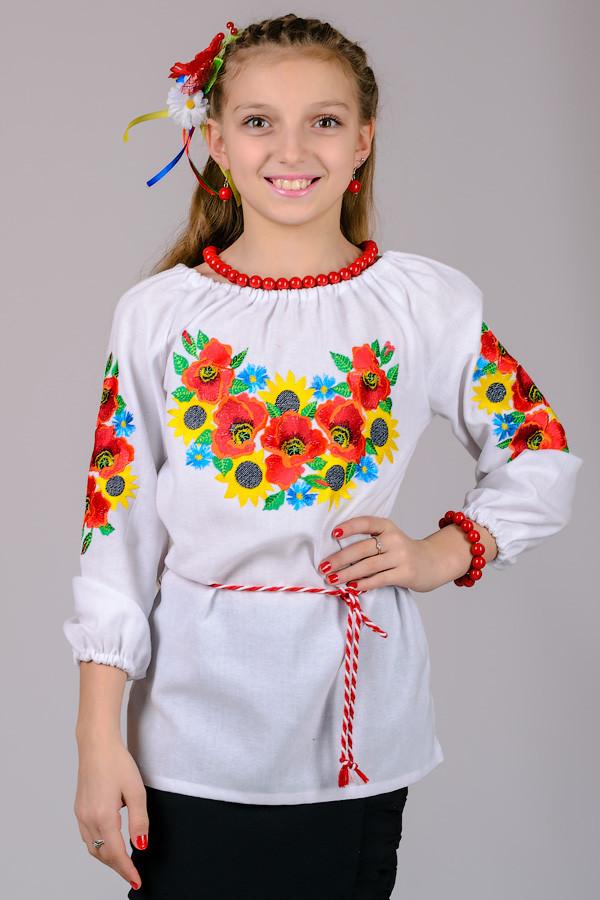 Рубашка вышиванка для девочки детская белая с ярким орнаментом рукав 3/4 хлопок  (Украина)