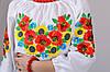 Рубашка вышиванка для девочки детская белая с ярким орнаментом рукав 3/4 хлопок  (Украина), фото 4