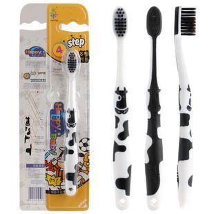 Бамбуковые детские угольные зубные щетки  Южная Корея,( Коровка.)