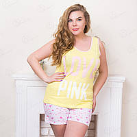 Комплект-двойка женский батальный: майка и шорты с принтом Moda Love Турция MDLV-17210 одежда для дома дешево (3 ед. в упаковке)