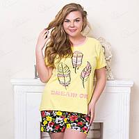 Домашний комплект-двойка женский батальный недорого: футболка и шорты с принтом Инди Moda Love Турция MDLV-17294 (3 ед. в упаковке)
