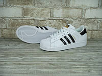 Кроссовки Adidas Superstar Supercolor white/black/gold. Живое фото. Самовывоз (Реплика ААА+), фото 1