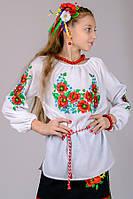 Блузка вышиванка для девочки детская белая с цветным орнаментом рукав 3/4 хлопок  (Украина)