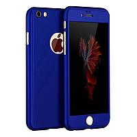 Чехол на 360 градусов со стеклом для IPhone 7 Ярко-Синий