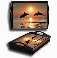 Поднос на подушке дельфины