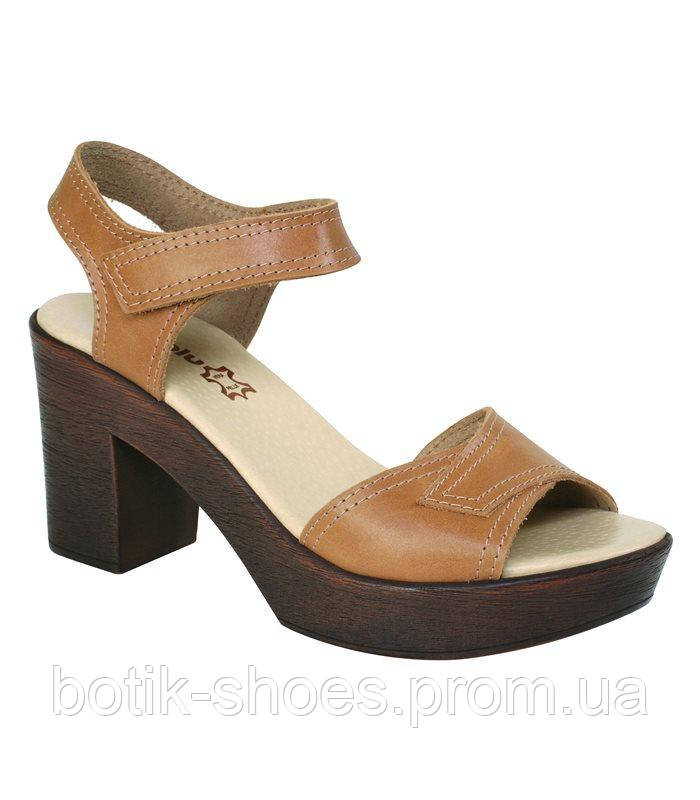 Женские кожаные модные бежевые босоножки на высоком каблуке Inblu -  интернет-магазин обуви