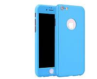 Чехол на 360 градусов со стеклом для IPhone 7 Голубой