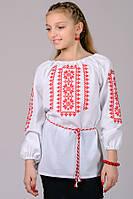 Дитяча вишиванка для дівчинки біла червоний орнамент рукав 3/4 хб (Украина)
