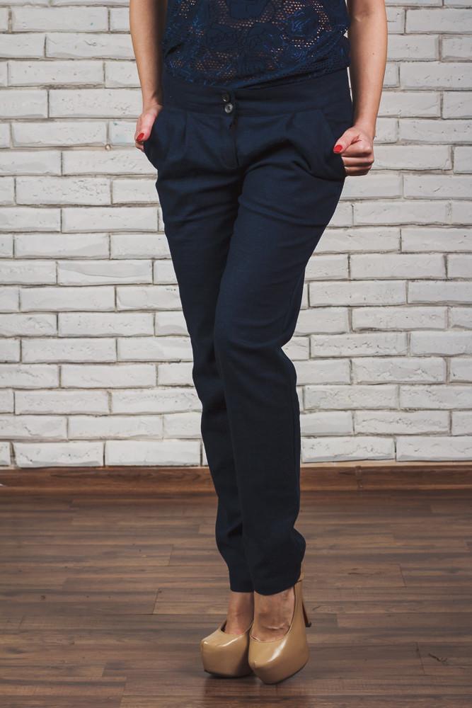 Женские брюки лен темно-синие