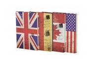"""Блокнот JGYC-25801-1080 """"Британский/Американский флаг"""" в линию (80 листов, 14*21 см.)"""