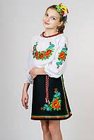 Юбка вышиванка для девочки черная с атласными лентами габардин (Украина)
