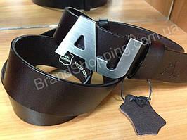 Кожаный ремень Armani Jeans 0698 коричневый ширина 4см мужской/женский