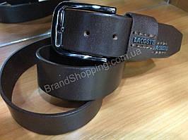 Кожаный ремень Lacoste 0765 коричневый ширина 4см