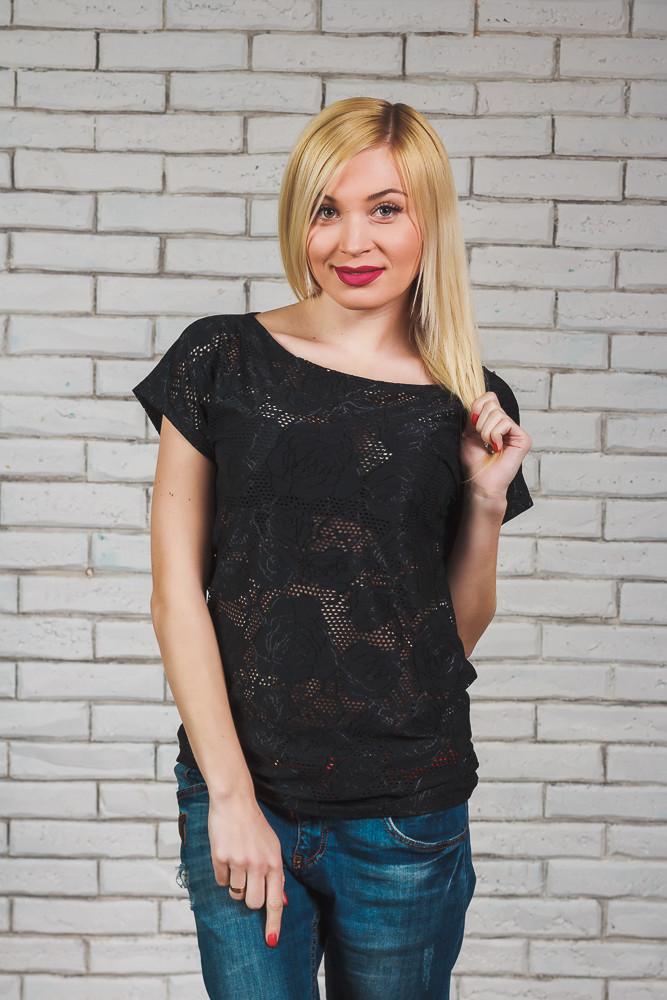 Женская блуза сетка черная