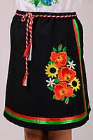 Юбка под вышиванку для девочки плахта черная с атласными лентами габардин (Украина)