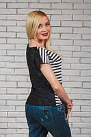 Женская блуза сетка+вискоза черная