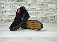 Кеды Vans Old Skool high CANVAS SK8-HI all black (Реплика ААА+), фото 1