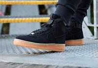 """Зимние кроссовки Nike Air Force 1 High """"Black Gum"""" с мехом (Реплика ААА+), фото 1"""