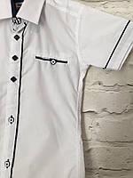 Рубашка с коротким рукавом белая для мальчиков 7-12 лет
