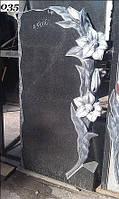 """Одиночный памятник из гранита на могилу """"Лилия"""""""