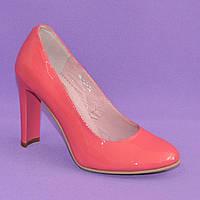 Туфли коралловые лаковые женские на высоком каблуке. 39 размер