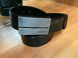 Кожаный ремень Calvin Klein 0946 черный ширина 4см