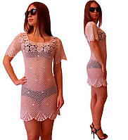 Вязаное крючком пляжное летнее платье с фестонами белого цвета