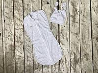 Евро пеленка кокон на молнии+ шапочка, Wind, серый меланж 0-3 мес, Светло-серый, Серый, 0-3 мес