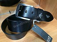 Кожаный ремень Armani 1048 ширина 4,5см черный