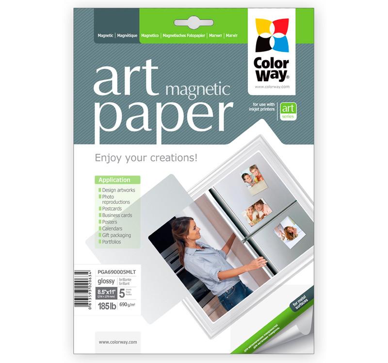 Бумага ColorWay с магнитной подложкой, глянцевая, 690 г/м2, Letter, 5 л (PGA690005MLT)